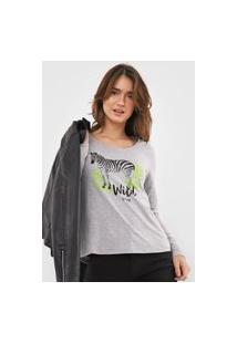 Blusa Malwee Zebra Cinza