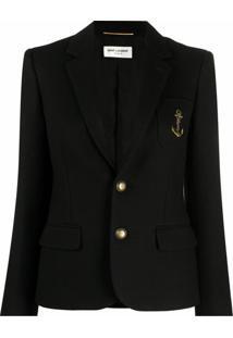 Saint Laurent Blazer Com Abotoamento Simples E Detalhe De Logo - Preto