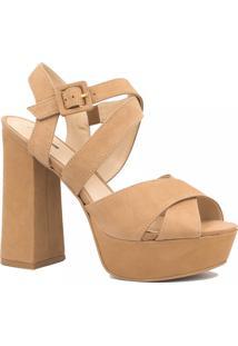 Sandália Zariff Shoes Salto Grosso Fivela Marrom
