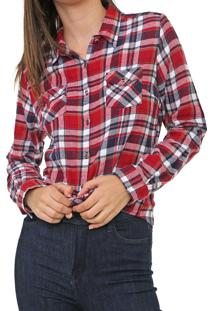 Camisa Polo Wear Xadrez Flanela Vermelha