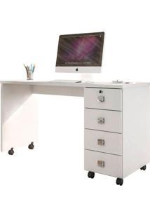 Mesa Para Computador Dubai Branco Brilho