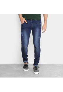 Calça Jeans Skinny Coffee Estonada Masculina - Masculino