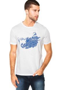 Camiseta Manga Curta Calvin Klein Jeans Estampa Branca