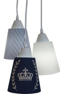 Lustre Pendente Luminária Crie Casa Quarto Bebê Coroa Bege E Azul Marinho