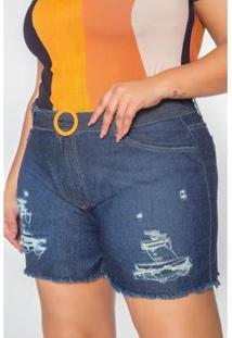 Bermuda Jeans Kauê Plus Size Boyfit Com Cinto Feminina - Feminino-Jeans