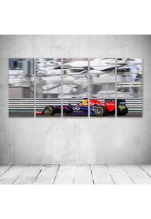Quadro Decorativo - Abu Dhabi Gp Sebastian Vettel F1 - Composto De 5 Quadros - Multicolorido - Dafiti