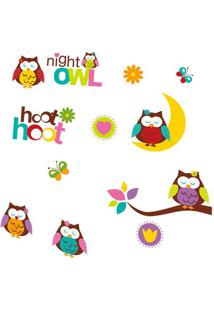 Adesivo De Parede Night Owl- Marrom & Amarelo- 70X50Evolux