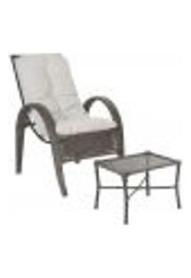 Jogo Cadeira 1Un E Mesa P/ Jardim Edicula Varanda Descanso Trama Napoli Plus Pedra Ferro A12