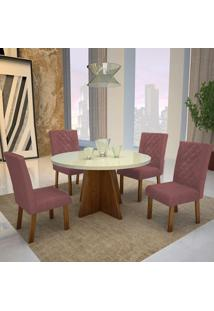 Mesa De Jantar Lisboa 100Cm Com Vidro Offwhite + 4 Cadeiras Lisboa Tecido 2035 - Amêndoa