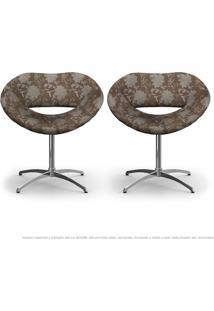 Kit 2 Cadeiras Beijo Floral Marrom Poltrona Decorativa Com Base Giratória