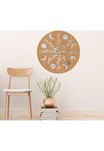 Escultura De Parede Wevans Mandala Dream, Madeira + Espelho Decorativo