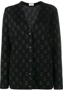 Saint Laurent Cardigan Com Bordado - Preto