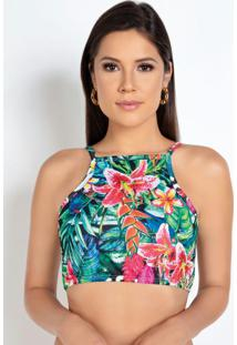 Top Cropped Com Estampa Tropical