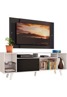 Rack Madesa Cancun E Painel Para Tv Até 58 Polegadas Com Pés - Branco/Preto 7377 Branco