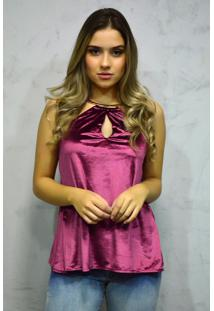 Blusa Veludo Decote Jóia Rosa