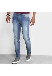 Calça Jeans Skinny Cavalera Rasgados Masculina - Masculino-Azul