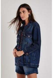 Jaqueta Jeans Longa Used Sacada Feminina - Feminino-Azul