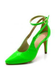 Sapato Scarpin Aberto Salto Alto Fino Em Napa Verniz Verde Neon