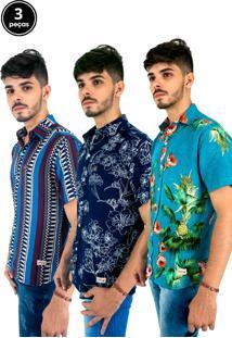 Kit Com 3 Camisas S Casuais Estampadas Bamborra Multicolorido
