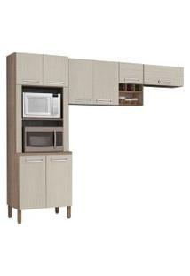 Cozinha Compacta Ametista 8 Portas Composiçáo 3 Nogal/Arena - Kit'S Paraná