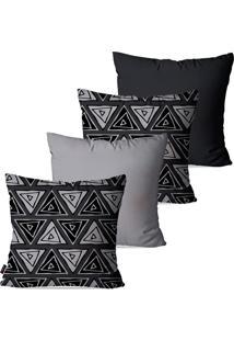 Kit Com 4 Capas Para Almofadas Decorativas Cinza Retângulos Abstratos 45X45Cm