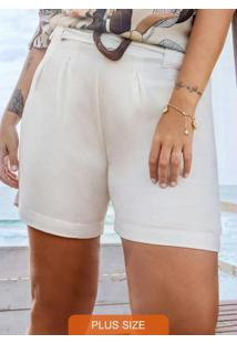 Shorts Plus Size Viscolinho Secret Glam Bege