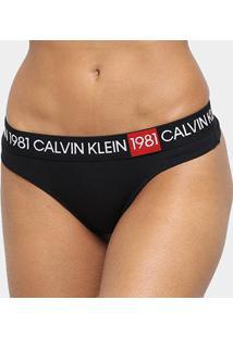 Calcinha Calvin Klein Fio Dental Cotton 1981 - Feminino-Preto