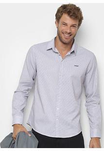 Camisa Colcci Manga Longa Básica Slim Masculina - Masculino-Azul+Branco