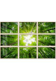 Quadro 150X225Cm Painel Copas Das Árvores Folhagem Verde Moldura Natural Com Vidro