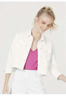 Jaqueta Feminina Em Sarja De Algodão Branco