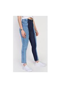 Calça Jeans Forever 21 Skinny Color Block Azul