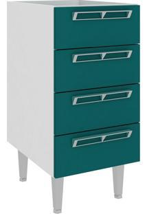 Armário De Cozinha 4 Gavetas Cz601 40X83 Branco/Verde - Atria Móveis