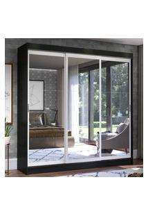 Guarda-Roupa Casal Madesa Istambul 3 Portas De Correr De Espelho 3 Gavetas - Preto/Branco Preto