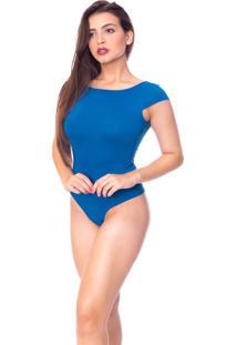 Body Moda Vicio Manga Curta Decote Costas Com Bojo Azul Petroleo - Kanui
