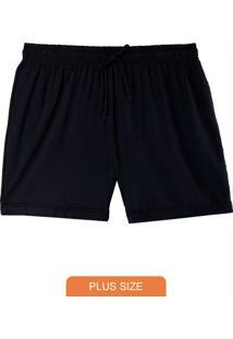 Shorts Preto Running Em Moletinho Plus