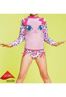 Blusa Gatinha Com Laços - Rosa Claro & Azulpuket
