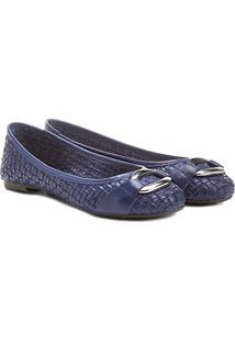 Sapatilha Couro Shoestock Tressê Feminina - Feminino-Azul