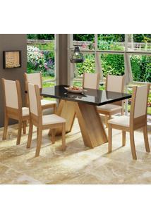 Conjunto Sala De Jantar Madesa Paola Mesa Tampo De Vidro Com 6 Cadeiras Marrom - Tricae