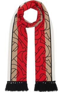 Burberry Echarpe Com Listras E Monograma - Vermelho