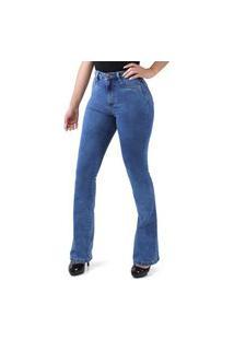 Calça Flare Jeans Super Lipo Azul