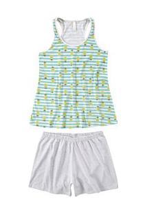 Pijama Curto Regata Abacaxi Malwee Liberta (1000059793) Verde E Mescla - Algodão