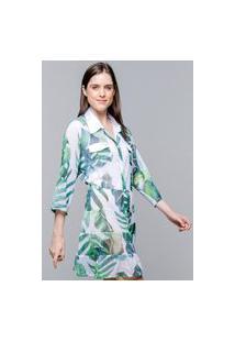 Vestido Chemise 101 Resort Wear Evasê Crepe Folhagem Fundo Branco
