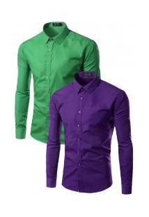 Kit Com 2 Camisas Social Slim Fit Solid - Verde E Roxo