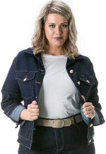 Jaqueta Jeans Confidencial Extra Plus Size Tradicional Feminina - Feminino-Marinho