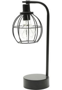 Luminária Aço Plástico Vintage Globe Preto 14,5X10X32 Cm Urban