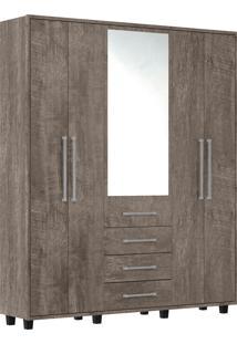 Guarda-Roupa Las Vegas Iii Com 5 Portas E Com Espelho Rv Móveis Cinza