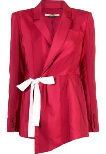 Hellessy Blazer Listrado Com Amarração Lateral - Vermelho