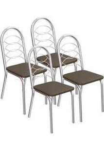Kit 4 Cadeiras Holanda Cromada Kappesberg 4C009 Marrom
