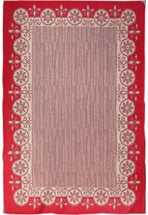 Tapete Sisllê Moldura Retangular Polipropileno (100X150) Vermelho