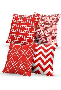 Kit 4 Capas De Almofadas Decorativas Own Geométricas Vermelha E Branca 45X45 - Somente Capa